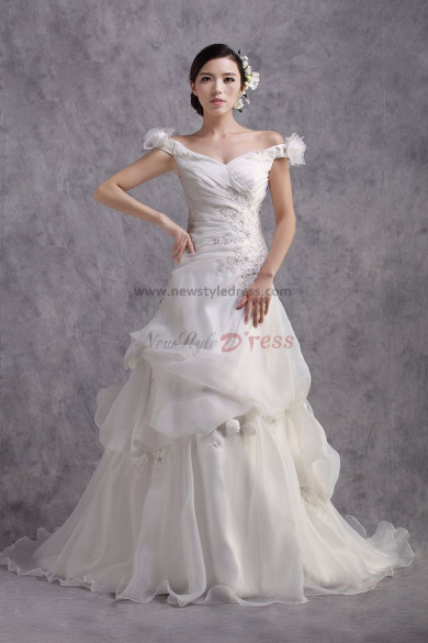 Latest Fashion Off the Shoulder Lace Up Chapel Train Ruched flower Wedding Dresses nw-0174