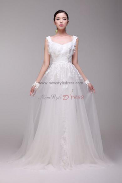 2014 Latest Fashion lace flower Vest A-Line Glamorous Wedding Dresses nw-0172