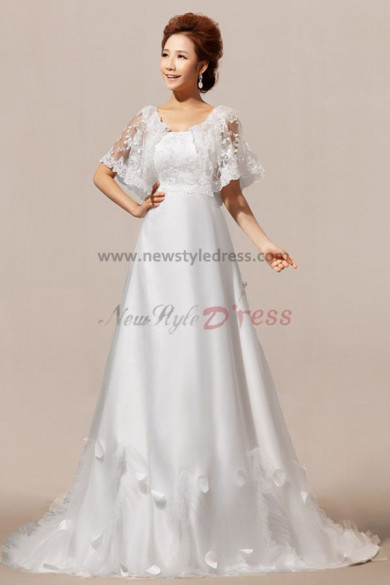 New Arrival Half Sleeves A-Line Lace Wedding Dresses with cape Chapel Train nw-0074
