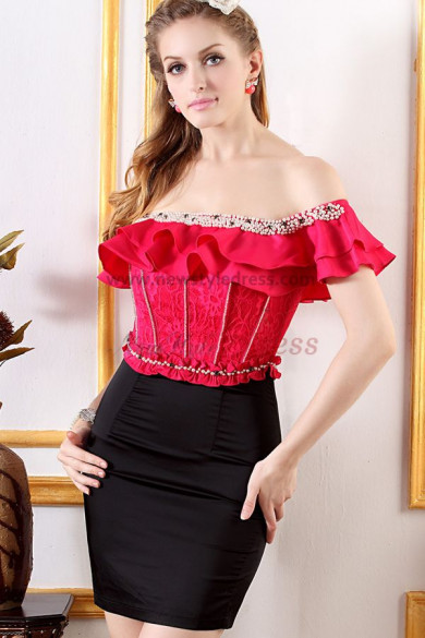 2019 New Arrival Leakage shoulder Sexy red/Pearl Pink Cocktail Dresses nm-0235
