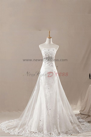 New Style Tiered Mermaid/Sheath Chest Appliques Sweep Train wedding dresses nw-0133