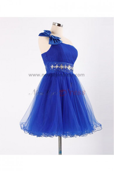 2019 hot sale Sashes With beading Glamorous Navy blue One Shoulder Tiered Homecoming Dresses nm-0077