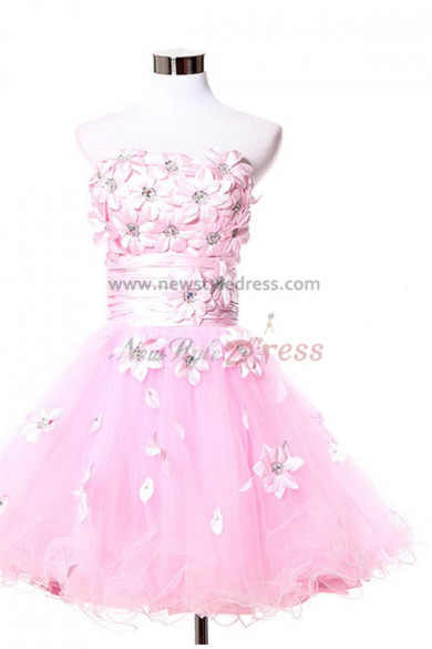 2017 new style Ruffles Natural Overall Chest With flower and beading lovely Above Knee Organza Homecoming Dresses nm-0086