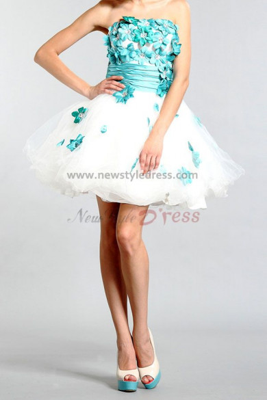 2019 new style Ruffles Tiered Chest With beading and Navy blue flower Organza Homecoming Dresses nm-087