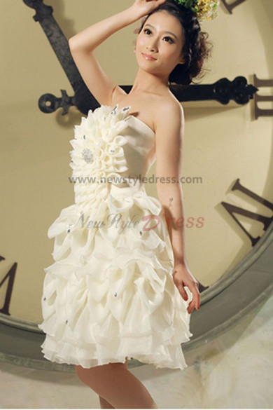 2017 new style Strapless lovely Champagne Ruched Above Knee Homecoming Dresses nm-0044