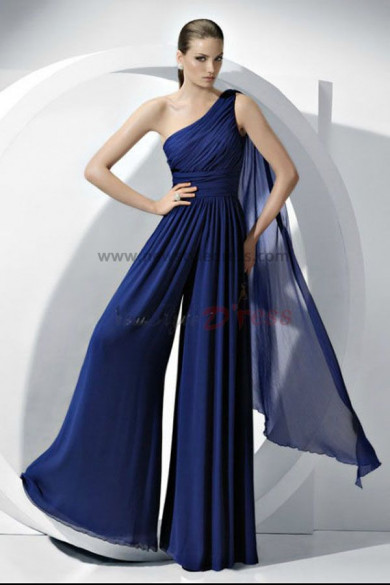 2018 vestido Fashion Royal Blue Chiffon Jumpsuits Wedding party nmo-056