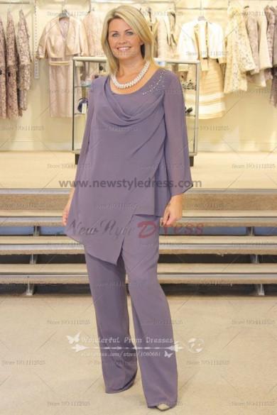 2019 Cowl Neck Elegant chiffon 2PC mother of the bride pants suit nmo-102