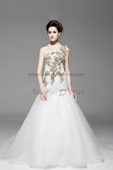 New Arrival Fall One Shoulder Appliques Trumpet Chapel Train Wedding Dresses nw-0227