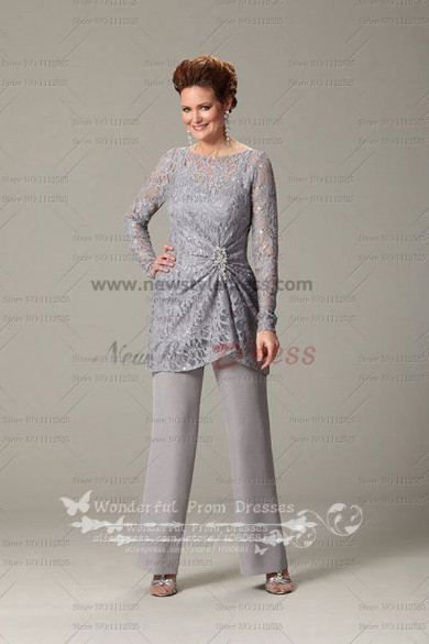 New Arrival Gray Long Sleeves mother of the bride pants suit nmo-108