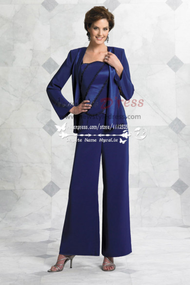 2019 Fashion Hand beading Royal Blue mother of the bride pant suit nmo-179