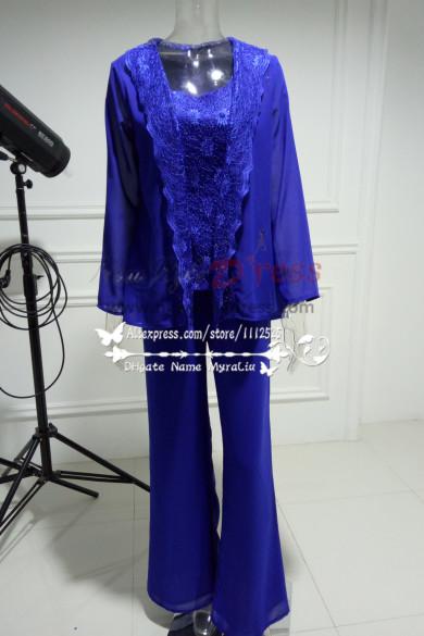 2018 Fashion Royal Blue Lace Sequins Vest Mother Of the bride pants 3 Sets