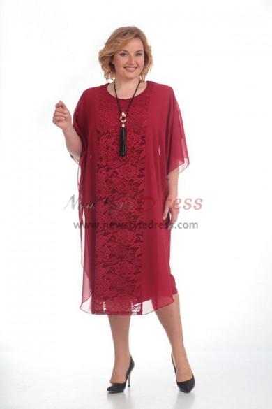 2019 Elegant Plus Size Burgundy lace Mother Of The Bride Dresses nmo-369