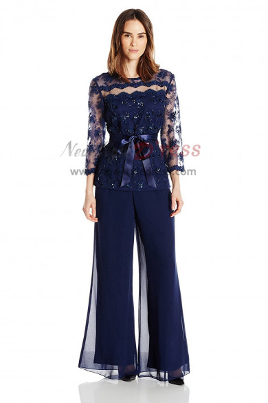 2019 Fashion Navy blue pants suit for Mother of the bride outfits nmo-410