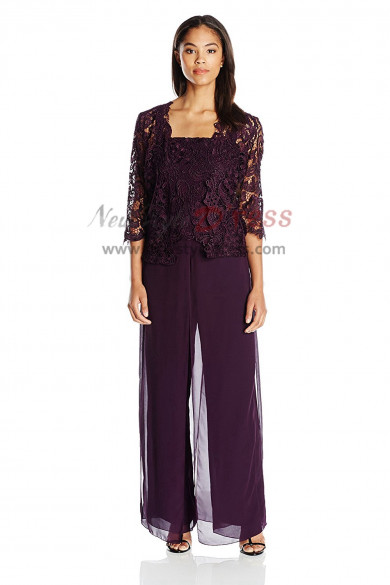2019 Fashion Purple Venice lace 3 pieces set Mother of the bridal pantsuits nmo-414