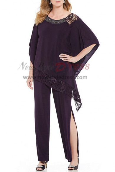 2019 New arrival Purple Chiffon Two pieces Mother of the bride Pantsuit dresses nmo-391