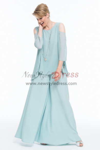 2019 Mother of the bride pant suit Aqua Chiffon Draped Top High-end Trouser outfit nmo-450