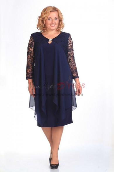 2019 Spring Modern Plus Size Dark Navy Mother Of The Bride Dresses nmo-360