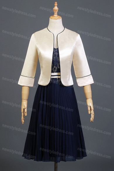 2021 Hot Sale Elegant Mother Of The Bride Dress,Half Sleeves Prom Dresses With Jacket nmo-742