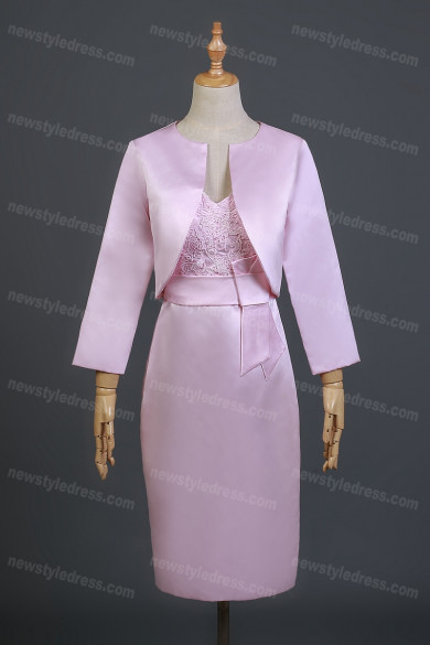 2021 Sheath Neck Knee Length Prom Dresses, Sash Ribbon Appliques Mother of the Bride Dress nmo-735