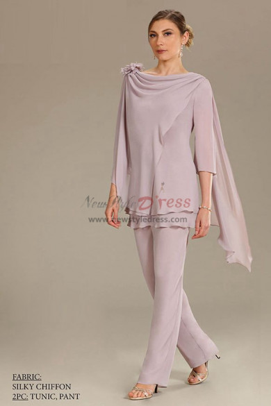 2PC Mother of the bride pant suits dresses Comfortable Chiffon Trousers outfit New arrival nmo-502