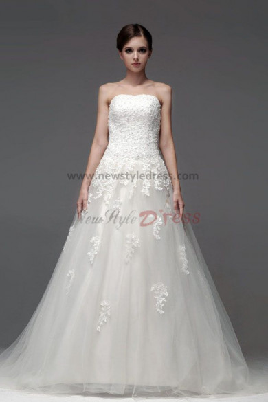 A-Line Lace Chapel Train Hand beading Strapless Spring Wedding Dresses nw-0225