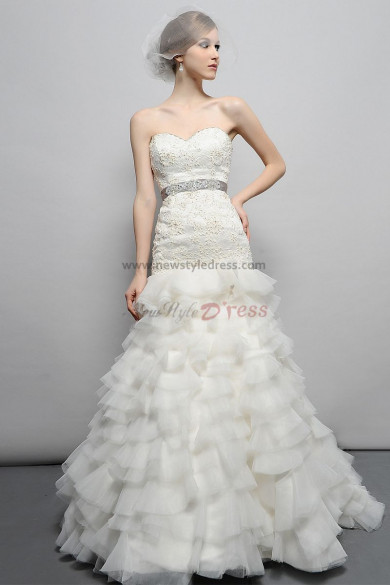 A-line Glamorous Sheath Lace Applique Tulle Wedding Dress nw-0269