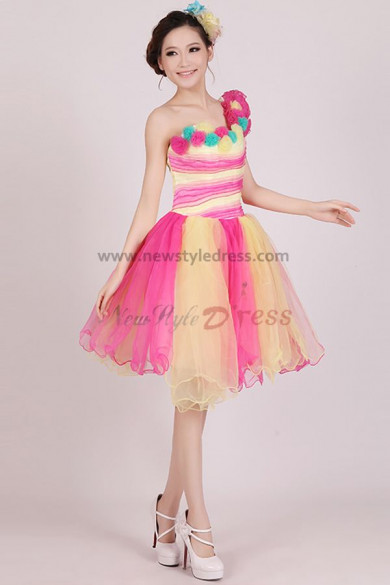 Above Knee-Mini Yellow with red Tulle One Shoulder Ruched Cocktail dresses nm-0183