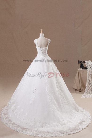 Appliques Elegant 20 Inch Train lace Side Tiered wedding dresses nw-0138
