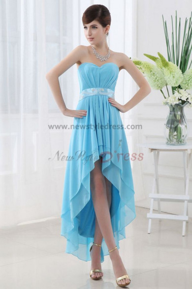 Asymmetry Navy blue Chiffon Elegant Back Design Lace Up Homecoming Dresses nm-0060