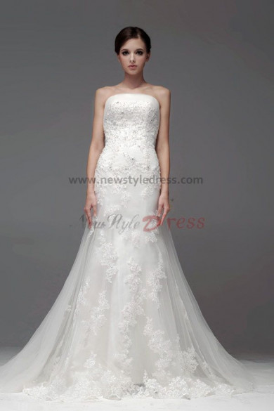Backless Lace Chapel Train Hand beading Mermaid Strapless Wedding Dresses nw-0223