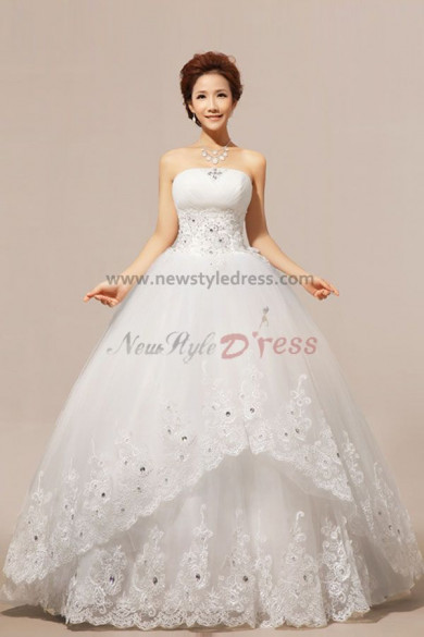 Strapless Ball Gown Wedding Dresses Waist With beading lace edge nw-0075