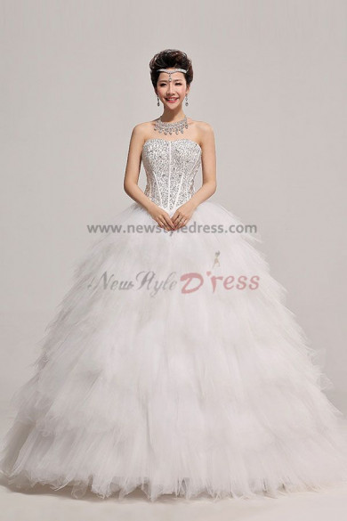Ball Gown Tulle Tiered Chest With beading Wedding Dresses nw-0068