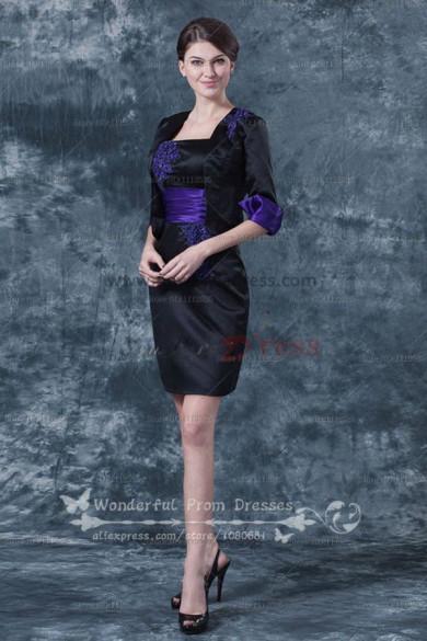 Black Elegant Sheath Mother of the bride suit dress cms-026