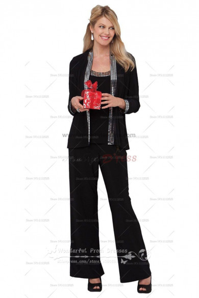 Black three piece cheap mother of the dress pant suits with Sequins nmo-033