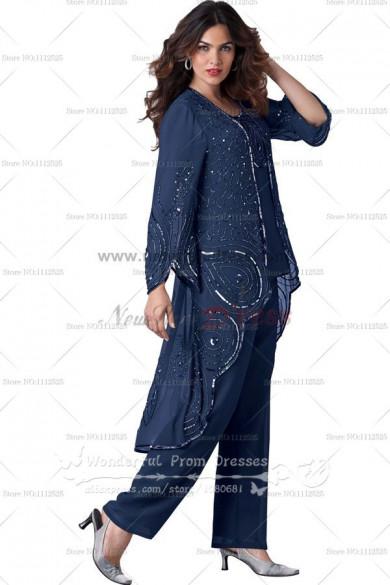 Dark Blue Elegant Pattern spring mother of the bride dress pants sets nmo-088