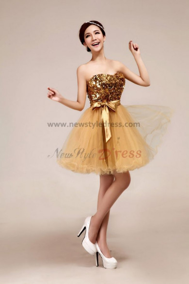 Champagne Tulle Organza Strapless Knee-Length Sequined Ruched Ribbons Simple Informal Modern Cocktail dresses nm-0029