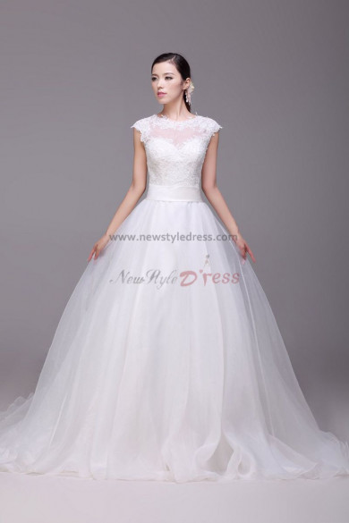 Cheap Princess Jewel lace Chapel Train Button Wedding Dresses nw-0173