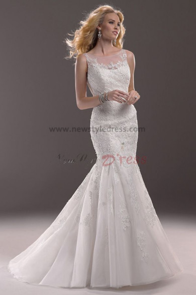 Cheap Sheer Straps Mermaid lace Sheath Elegant wedding dresses nw-0183