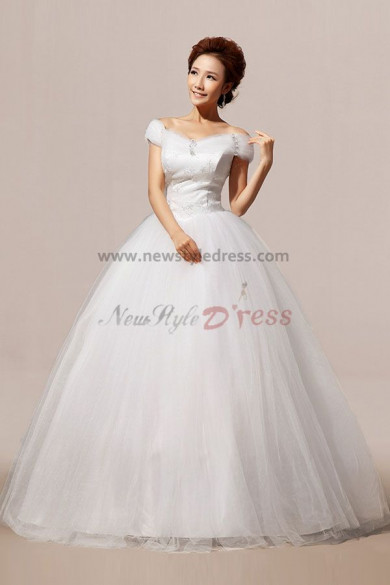 Chest Appliques Portait Ball Gown Tulle Off-the-shoulder Wedding Dresses nw-0053