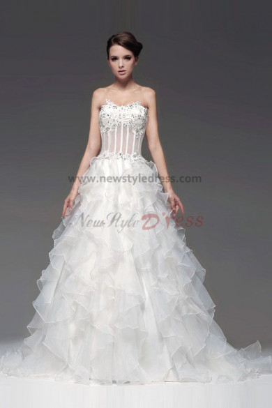 Chest Appliques Tiered Ball Gown Organza Wedding Dresses Train nw-0110