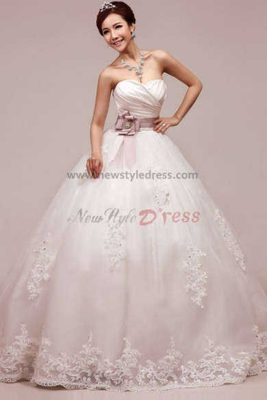 Chest with pleats Sweetheart Ball Gown Lace Up Floor-Length Elegant Waist With flower Wedding dresses nw-0046
