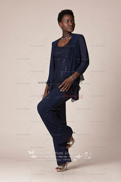 Chiffon three piece mother of the bride pants suits with Sequins lace wedding nmo-023