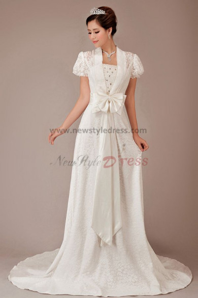 Classic puff sleeve Short Sleeves Appliques 20 Inch Train wedding dresses Waist With a bow nw-0147