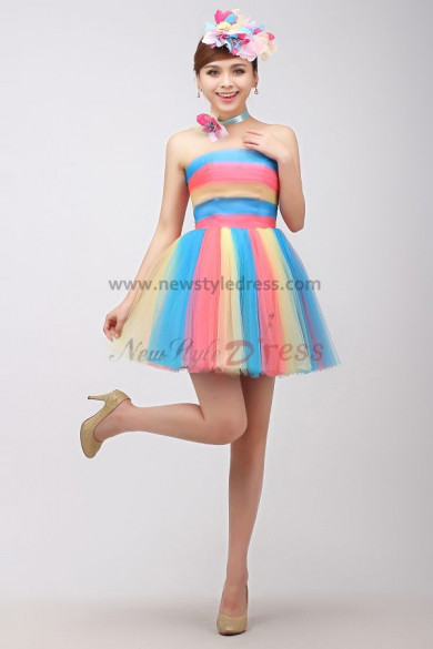 Colorful Tulle Strapless Sexy a-line under 100 Cocktail dresses nm-0184