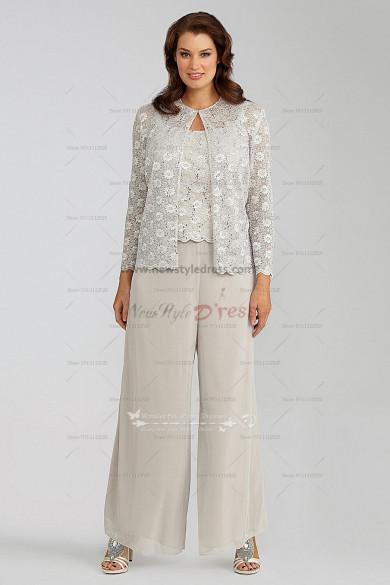 Elegant Lace 3 piece mother of the bride pants suit nmo-029
