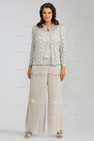 Elegant lace 3 piece mother of the bride pants suit nmo 029 for Dress pant suits for weddings