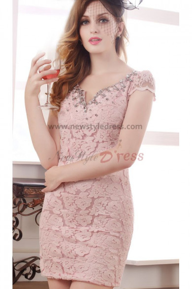 Pink V-neck Hand beading Sexy Sheath Cocktail dresses nm-0209