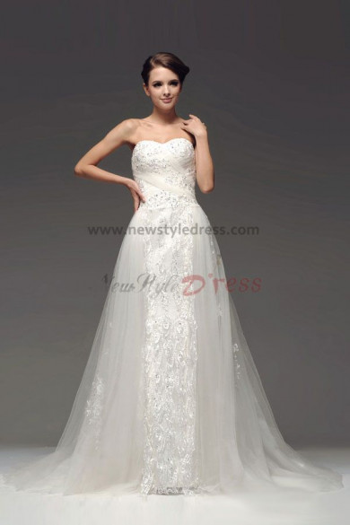 Embroidery Lace A-Line Wedding Dresses Chapel Train Hot Sale nw-0108