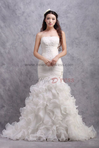 Strapless Mermaid Ruffles Sweep Train Wedding Dresses Chest With Appliques nw-0179