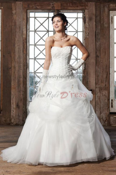Glamorous ball gown Multilayer tulle Sweep Train wedding dress nw-0202